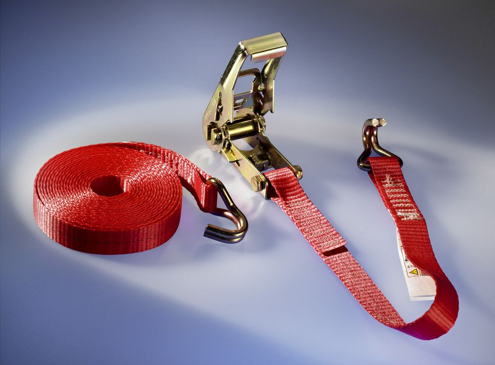 1 t-Ratschen-Zurrgurt, komplett, 5m Gurtlänge, Endbeschlag No.2, 25 mm, rot
