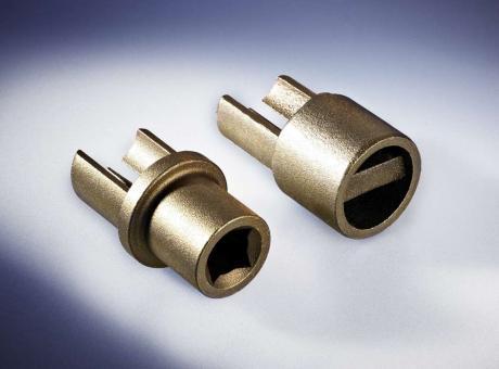 Adapter unten, Messing, m. Innenvierkant 12 x 12 mm, für Rundprofil D: 34 mm