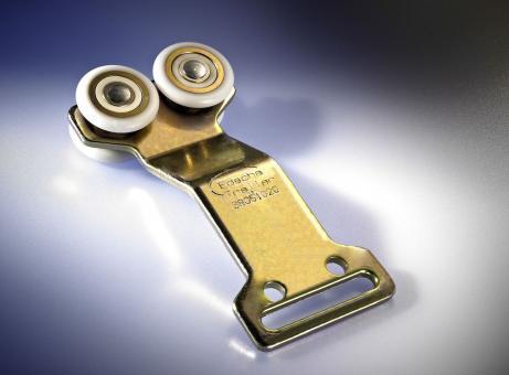 Edscha-Doppelrolle gekröpft, m. Stahlkugellager, D: 35 mm, Br: 29 mm, m. 50 mm Schlitz