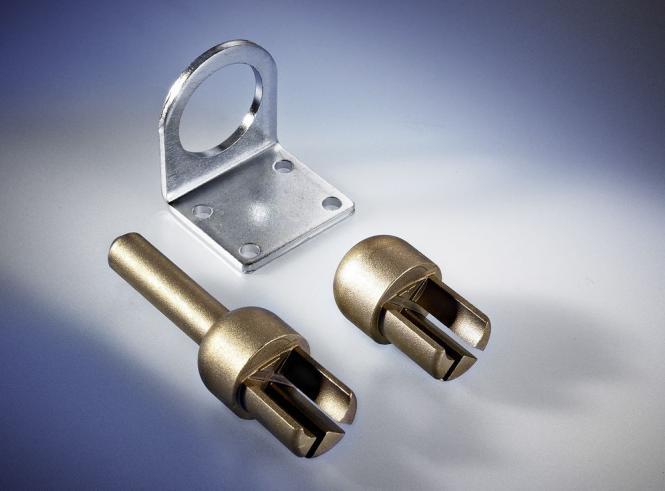Adapter oben, mit Spitze, Messing, für Rundprofil D: 34 mm